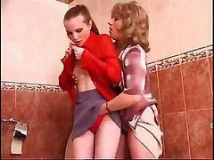 Two Lesbians Get Together In The Bathroom And Start The Pussy Play