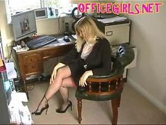English Secretary Is A Cock Teasing Dirty Slut In Her Black Silk Fully Fashioned Stockings