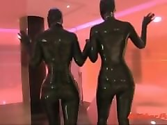 two latex girls at spa