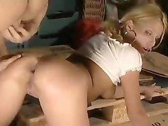 garage blonde - double anal threesome