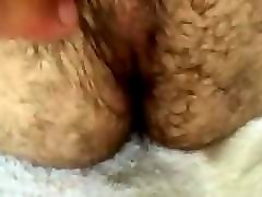 teasing a very hairy ass with a big heavily hooded uc cock