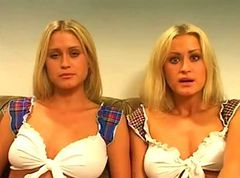 Amateur European Twins Share A Cock