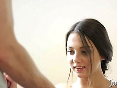 petite brunette teen fools around with her gentle lover