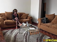 Horny African get smashed pussy on couch