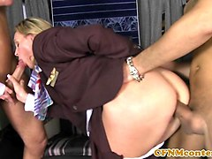 analized cfnm stewardesses join milehigh club
