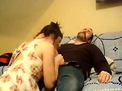 Wife gives her husband a ride and swallow